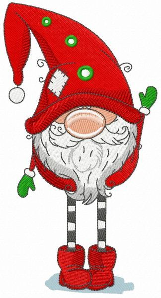 Gnome in red phrygian cap and boots machine embroidery design. Machine embroider…