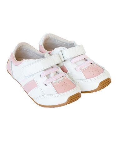 Look what I found on #zulily! Pink & White Leather Trainers Sneaker by SKEANIE #zulilyfinds