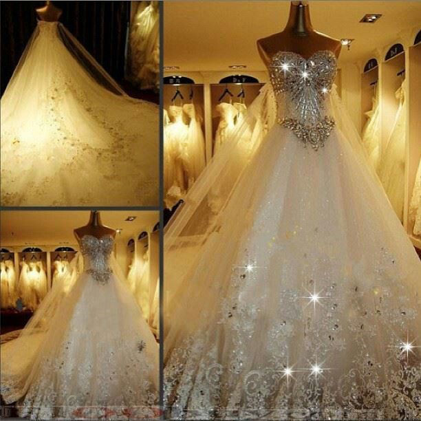 Future Wedding Ideas 3 Wedding Dress Train Bridal Ball Gown Bling Wedding Dress