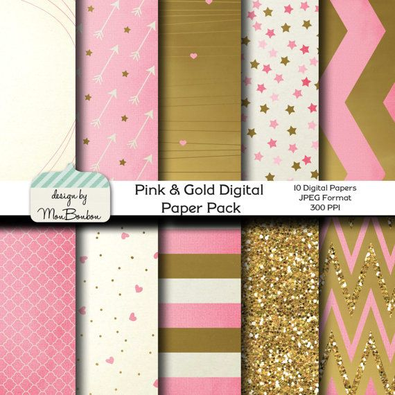 Pink Gold Digital Paper Backgrounds Pack 12x12 By Monbonbon 3 99 Instant Downloads Gold Digital Paper Patterned Vinyl Glitter Heat Transfer Vinyl