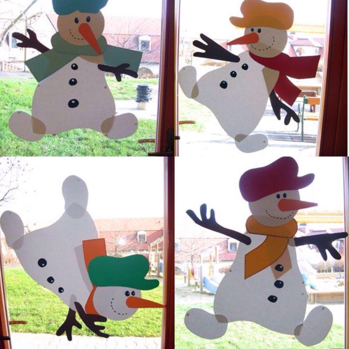 cute winter snowmen | christmas window decorations, xmas
