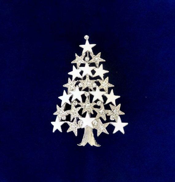 50 On SALE White Christmas Tree PinSilver Christmas Tree Brooch