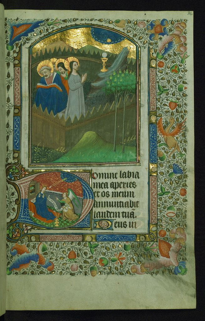 Book of Hours Above: Agony in the Garden; below: Annunciation ...