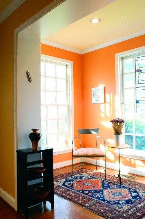 Orange Wall With White Trim So Fun For A Small Sunny Room