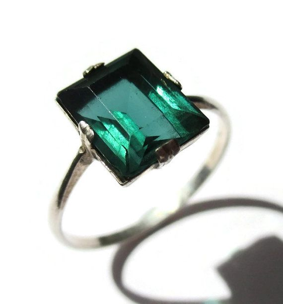 SOLD. Vintage Art Deco green paste ring, emerald green glass ring, sterling silver 925 setting, bluey green rhinestone ring, 1930s Jazz Age. https://www.etsy.com/listing/295182989/vintage-art-deco-green-paste-ring