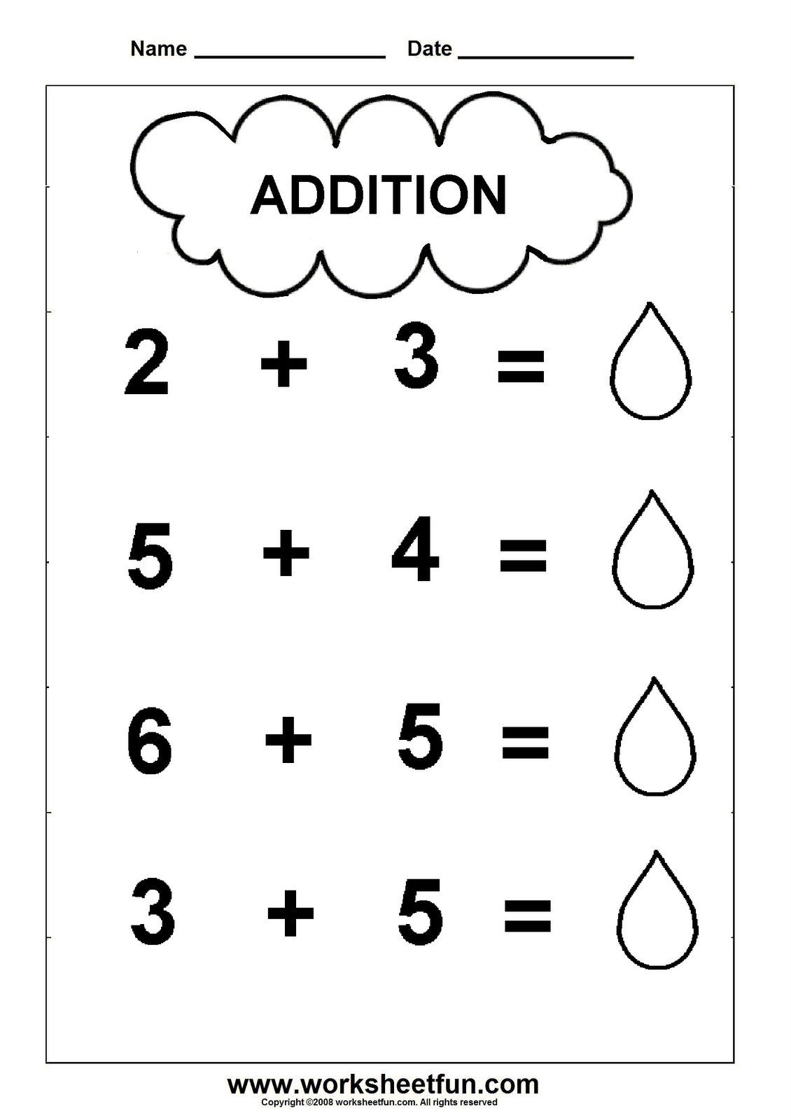 Pre-K Addition Worksheets | Addition Worksheet - cloud theme - 1 ...