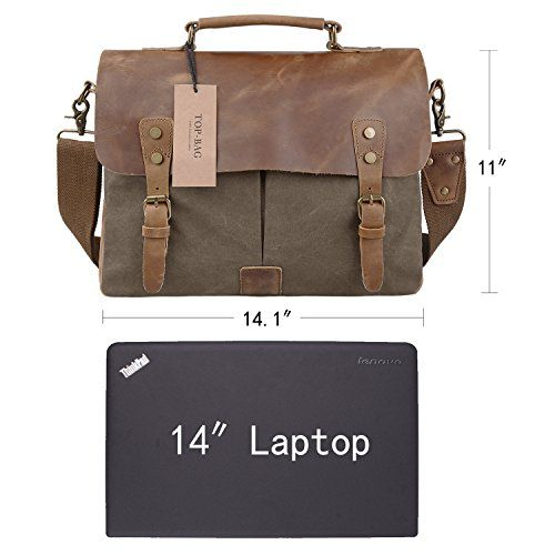 TOP-BAG® Men/Women's Vintage Canvas Leather Schoolbag Shoulder ...