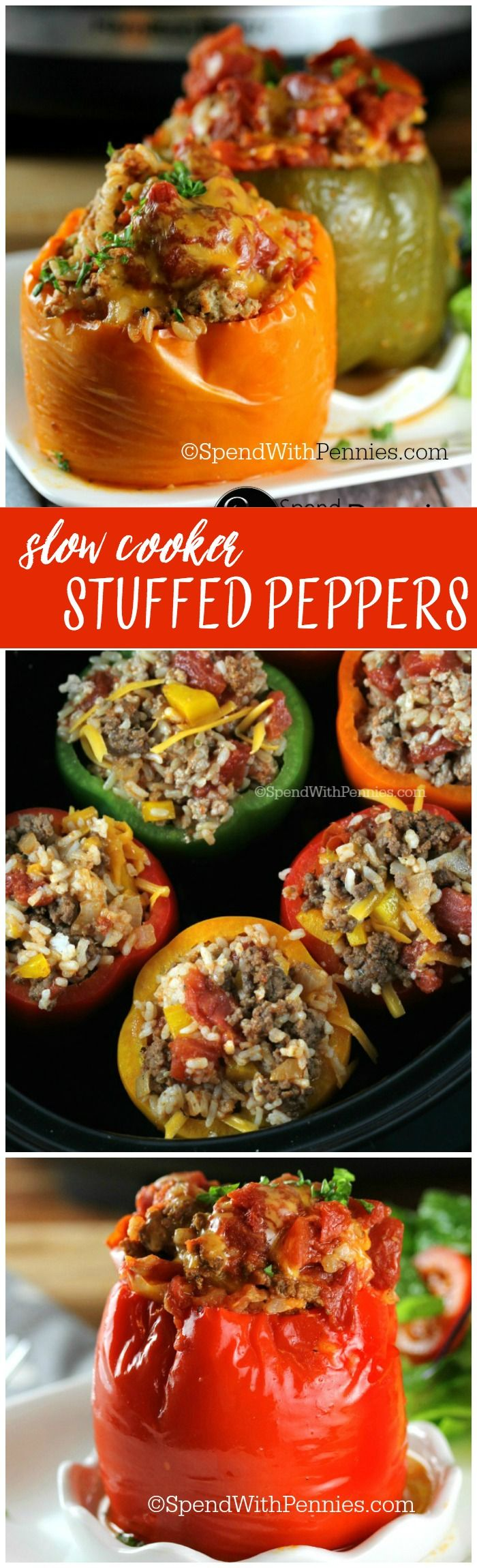 Crock Pot Stuffed Peppers These Deliciously Easy Stuffed Peppers Are The Perfect Meal To Slow Cooker Stuffed Peppers Stuffed Peppers Crockpot Stuffed Peppers