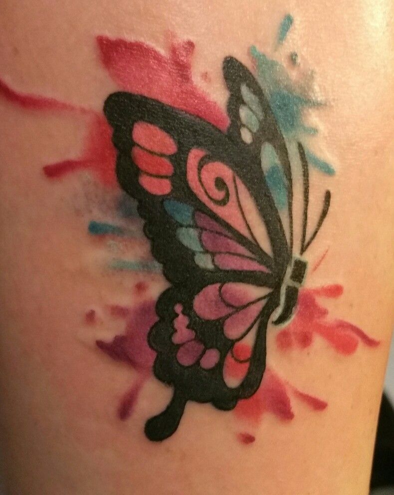 New Tattoo Freedom Continue Semicolon Watercolor Butterfly Yourstoryisnotover Watercolor Butterfly Tattoo Butterfly Tattoo Colorful Butterfly Tattoo
