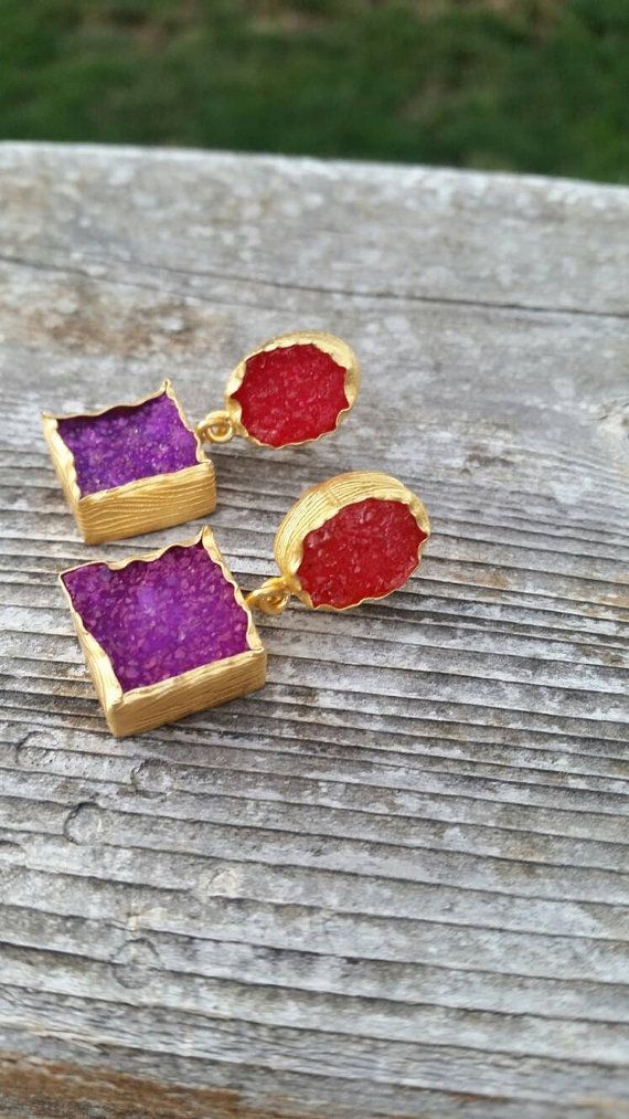 Hey, I found this really awesome Etsy listing at https://www.etsy.com/listing/456257274/red-purple-druzy-two-tone-gold-accented