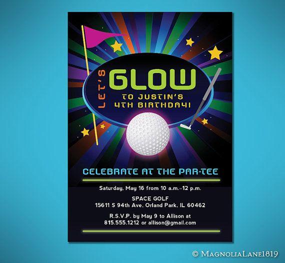 Glow in the dark mini golf birthday invitation customized glow in the dark mini golf birthday invitation customized filmwisefo