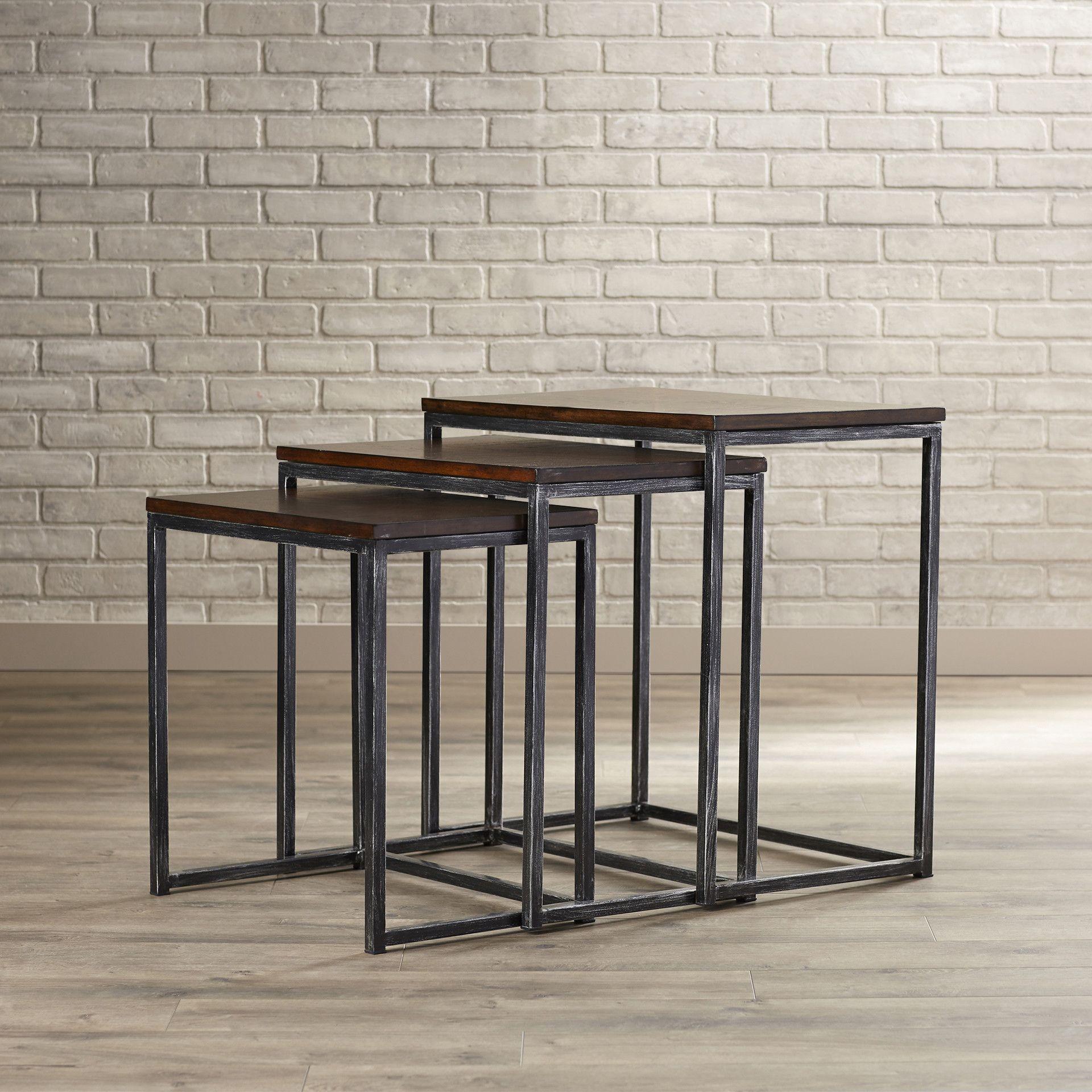 Trent Austin Design Wheeler 3 Piece Nesting Table Set In Brown Cherry Table Masculine Home Decor Nesting Tables
