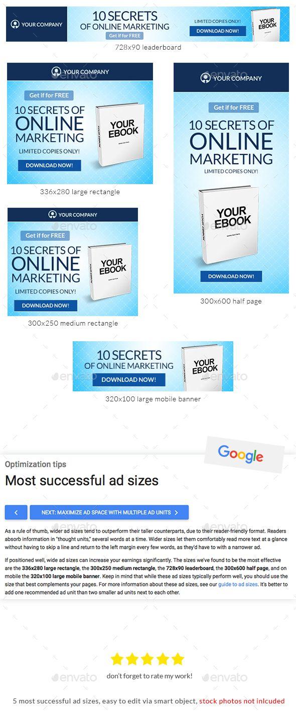 Blue Ebook Web Banner Template   Pinterest