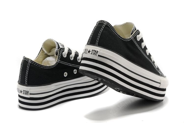 76e6f8fec4c3 2013 Converse All Star Light Black Double Platform Chuck Taylor Low Tops  Canvas Women Sneakers