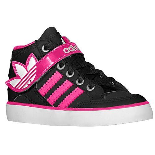adidas Originals Hard Court Hi Strap - Girls' Toddler - Basketball - Shoes  - Black/Blast Pink/Running White