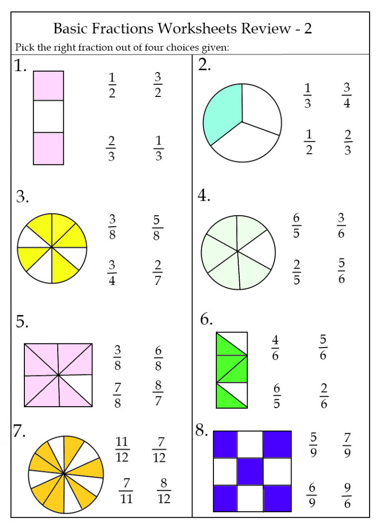 Free Fraction Worksheets Printable in 2020 Fractions