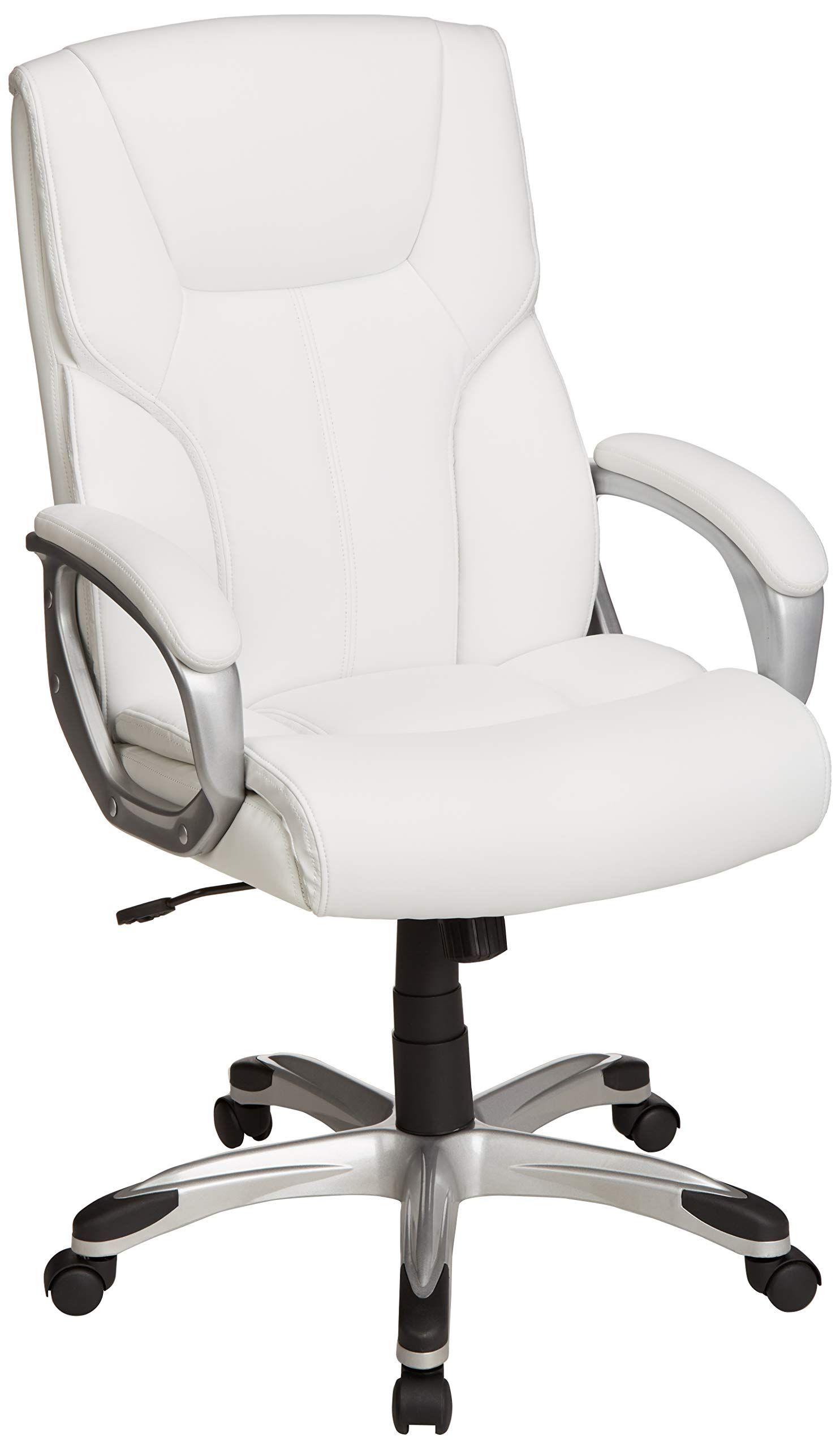 Amazonbasics High Back Executive Swivel Office Desk Chair White With Pewter Finish Bifma Certif White Office Chair Best Office Chair Adjustable Office Desks