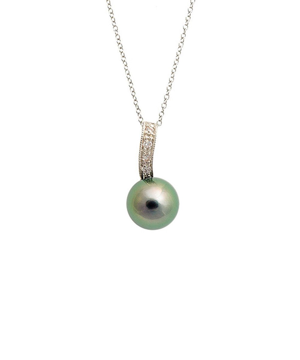Take a look at this Black Tahitian Pearl & Silver Sparkle Pendant Necklace on zulily today!