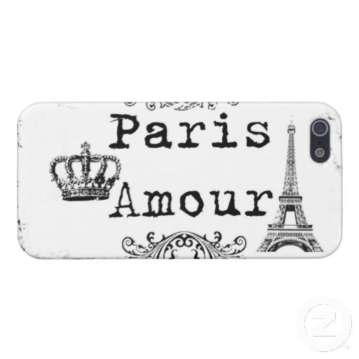 Vintage Black White Paris Amour Eiffel Tower Cases For iPhone 5