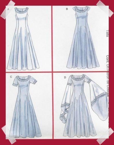 OOP Medieval dress PATTERN Eowyn Arwen LOTR SCA Prom McCalls 4491 ...