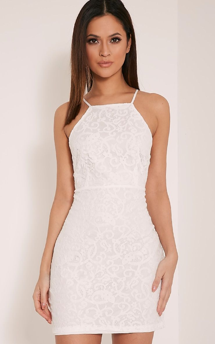 White Lace Top Sleeveless Bodycon Dress Pretty Little Thing wZp0fhEOX
