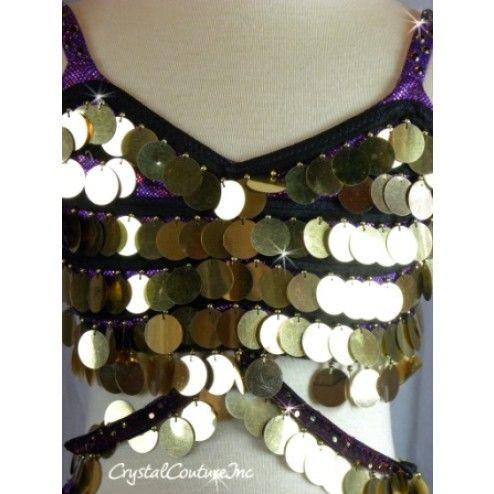 Purple 2 Piece Bra-Top & Skirt With Gold Sequin Fringe