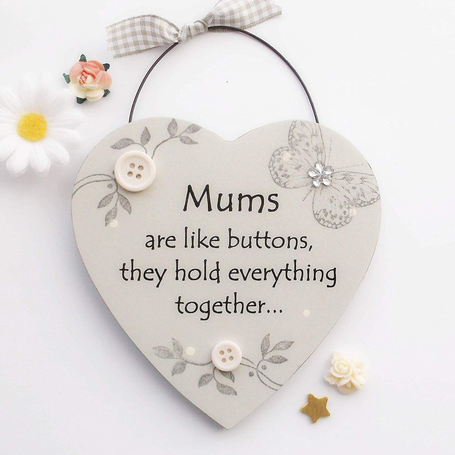 Mum S Are Like Buttons Mothers Day Wooden Gift Heart In 2020