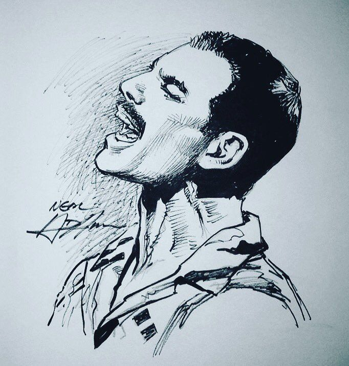 Freddie Mercury Dibujo Cara
