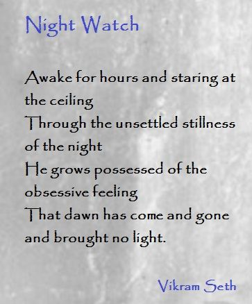 Night Watch Vikram Seth Feelings Poetry Reading
