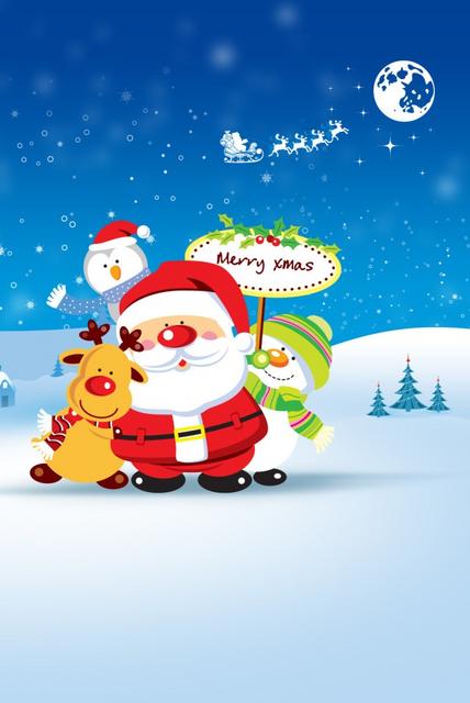 Sfondi Natalizi Renne.Babbo Natale Pinguino Pupazzo Di Neve E Renna Augurano Buon Natale