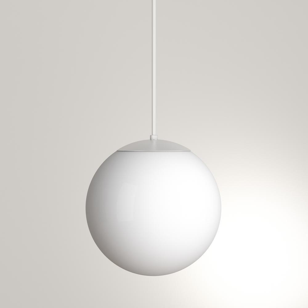 Sea Gull Lighting Leo Hanging Globe 10 In W 1 Light White Pendant