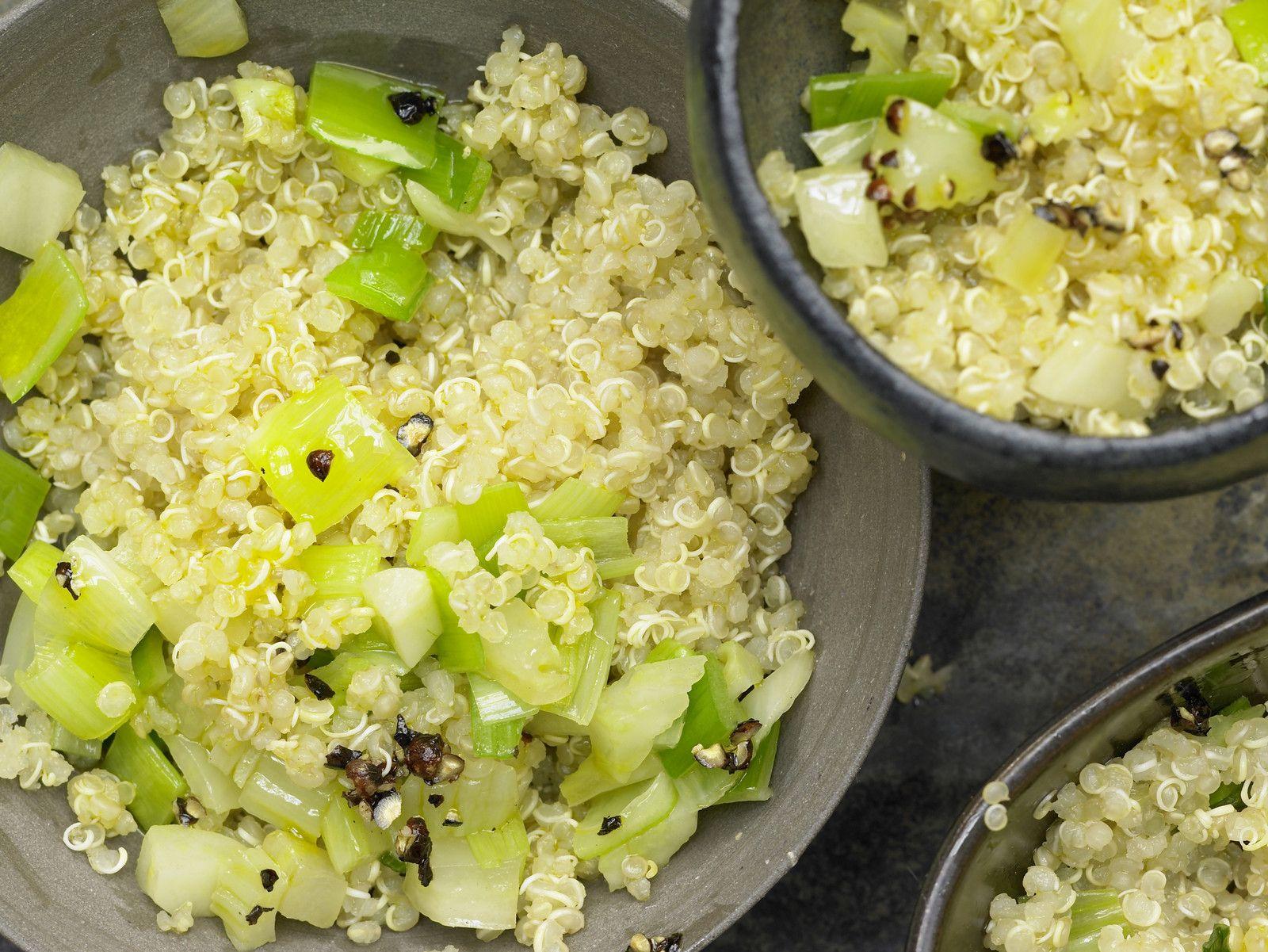 quinoa mit lauch rezept eiwei rezepte pinterest quinoa couscous und vegetarian cooking. Black Bedroom Furniture Sets. Home Design Ideas