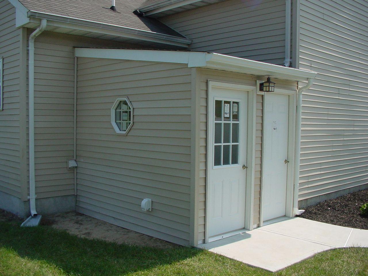 Covered Door instead of bulkhead - basement reno | Garden ...