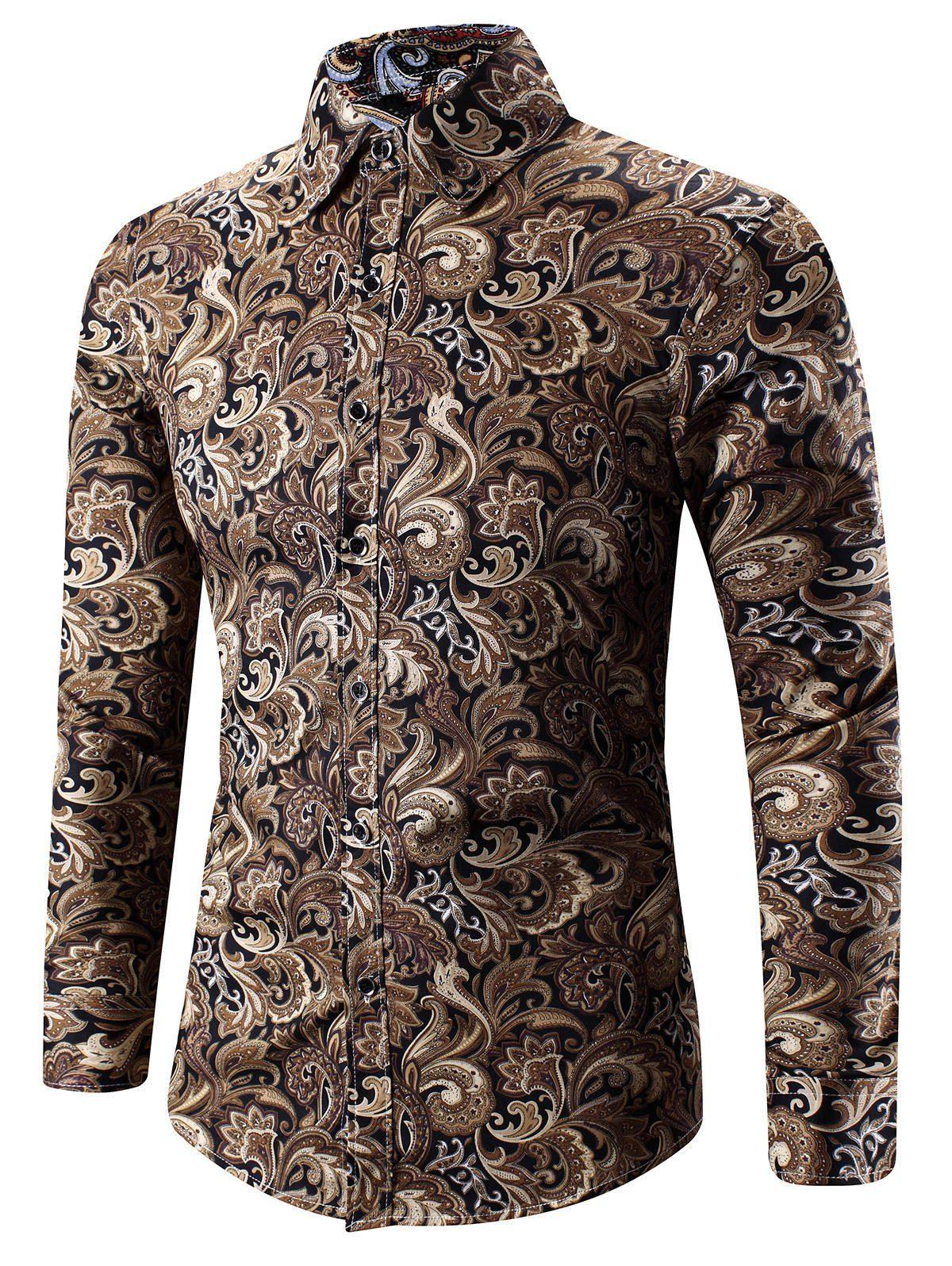 775c917313b 3D Paisley Print Long Sleeve Shirt - YELLOW M