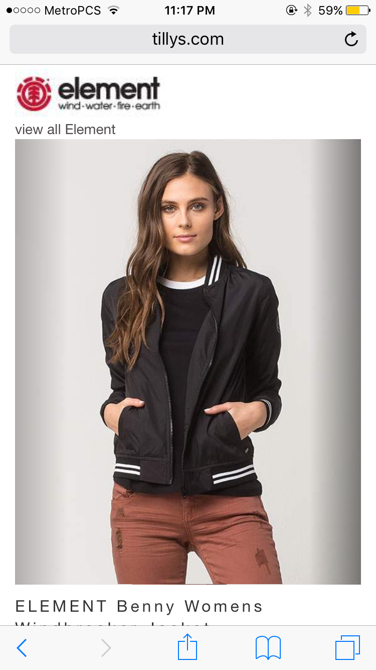 Black striped bomber jacket https://www.tillys.com/product/Element/Jackets/ELEMENT-Benny-Womens-Windbreaker-Jacket/Black/292135100