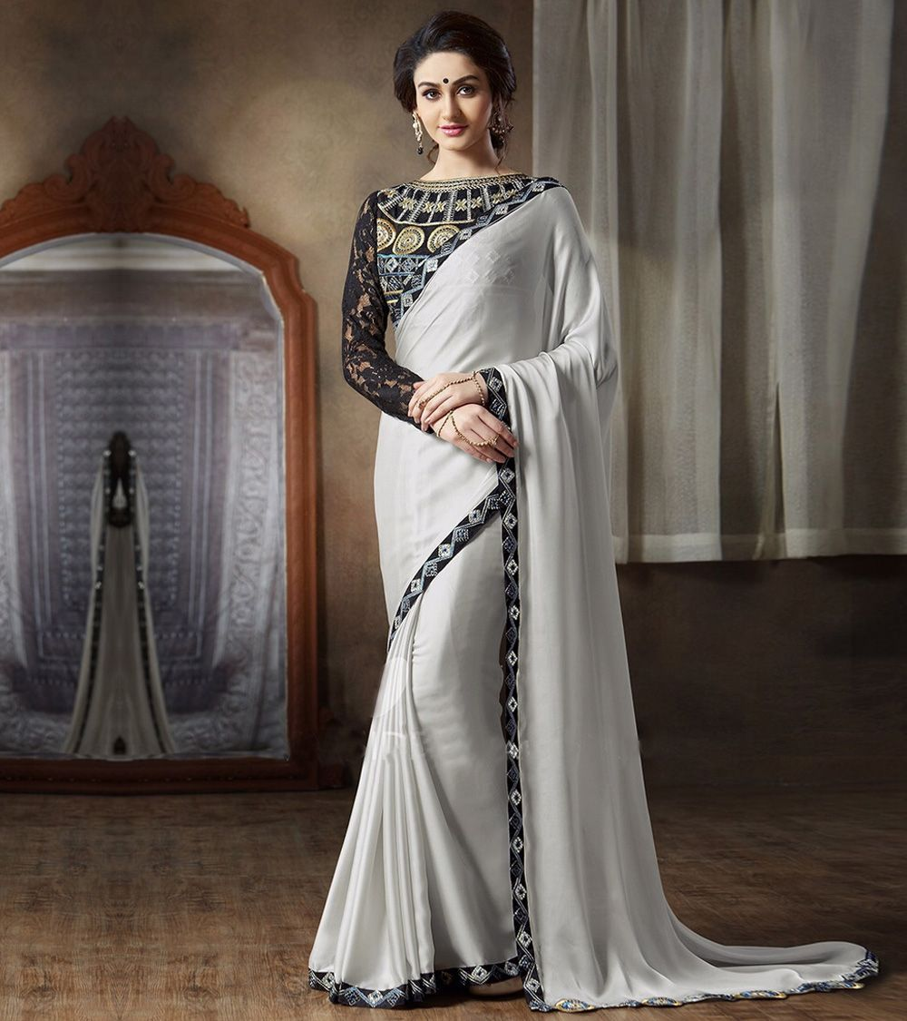 Contemporary Indian Wedding Décor Trends: Silver Georgette Embroidered Saree With Blouse Piece