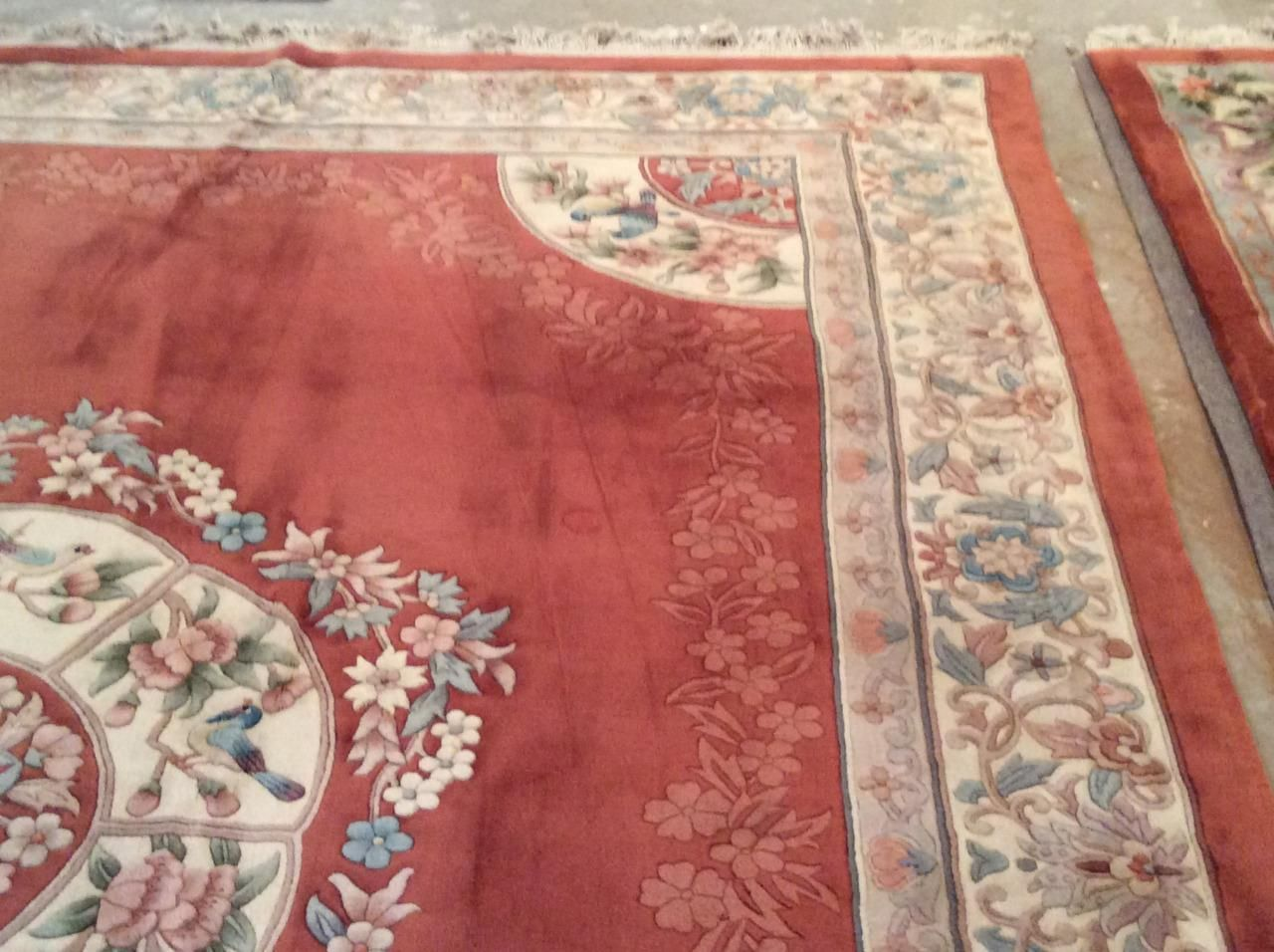 vintage hand knotted chinese rug french aubusson style 9x12 sculpted wool nm in