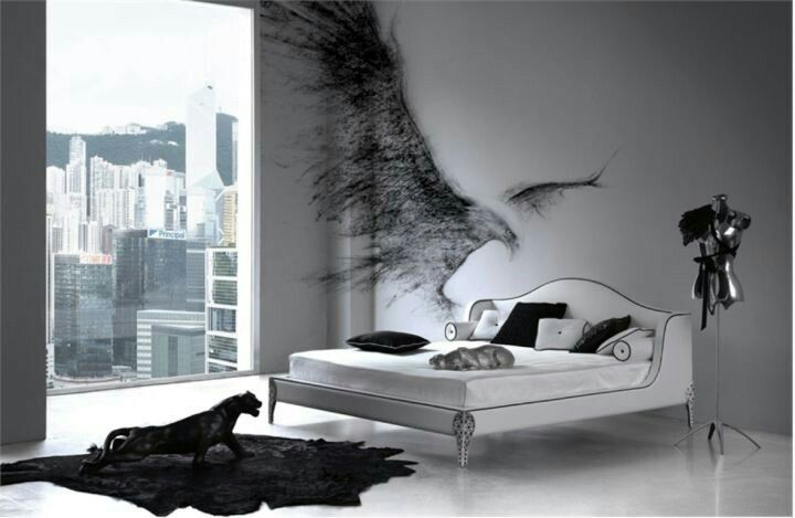 Minimalist Goth Love The Wall Color And The Wings Mi Casa Gorgeous Goth Bedroom Minimalist Design