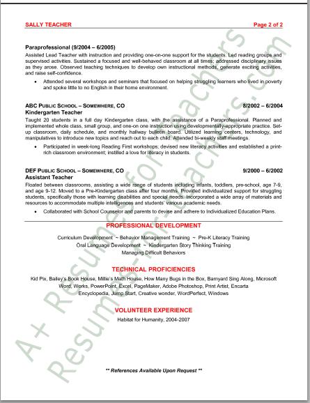 resume preschool teacher assistant