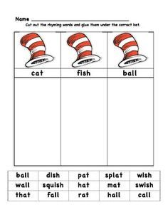 Worksheet Cat In The Hat Sight Word Worksheets cat in the hat rhyming activities google search classroom suess worksheet
