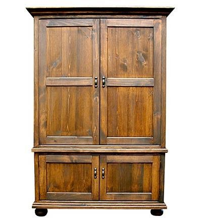 USA Made Handcrafted Solid Pine TV Armoire Entertainment Center With Pocket  Doors  I Always