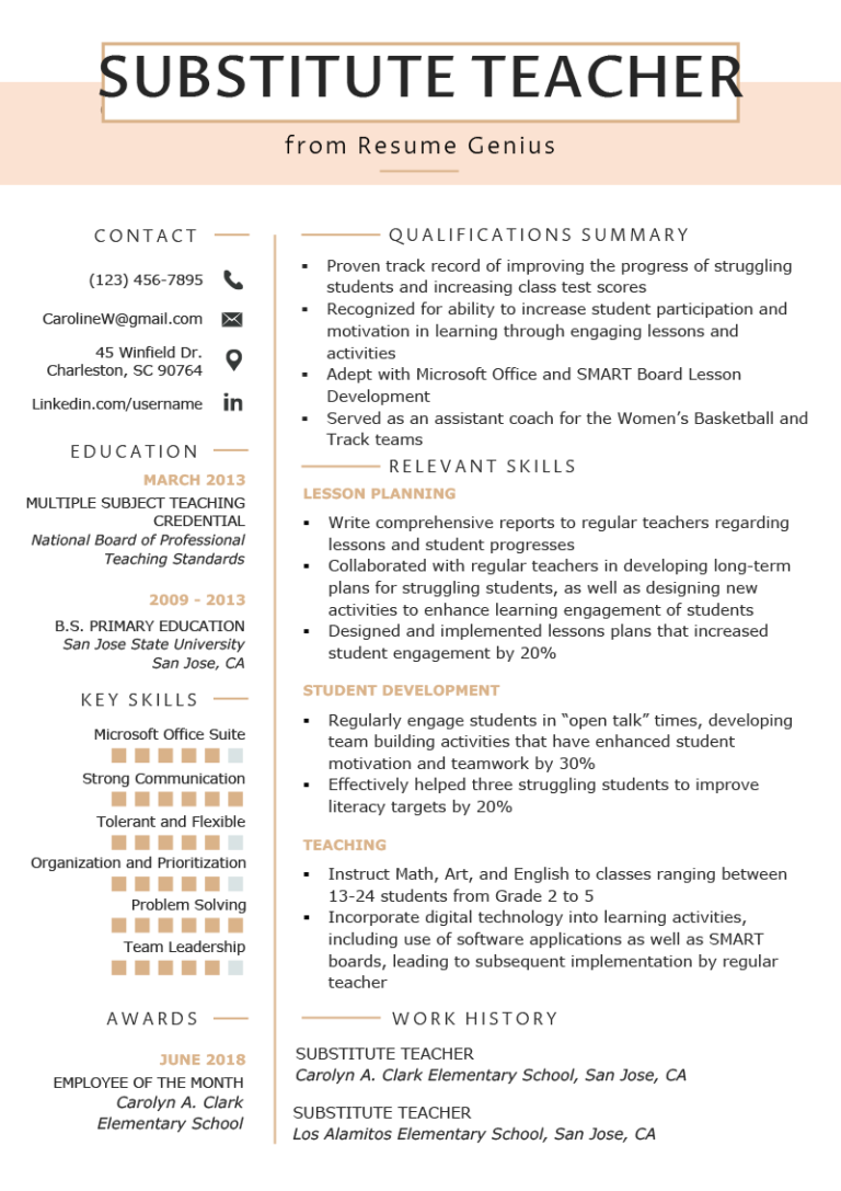 Teaching Resume Templates Substitute Teacher Resume Example Template Preschool Teaching