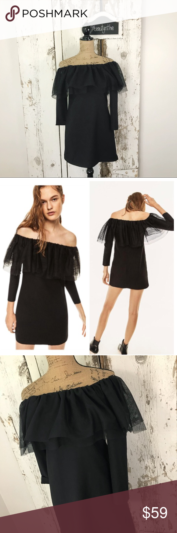 Zara trafaluc tulle frill off the shoulder dress nwt my posh picks