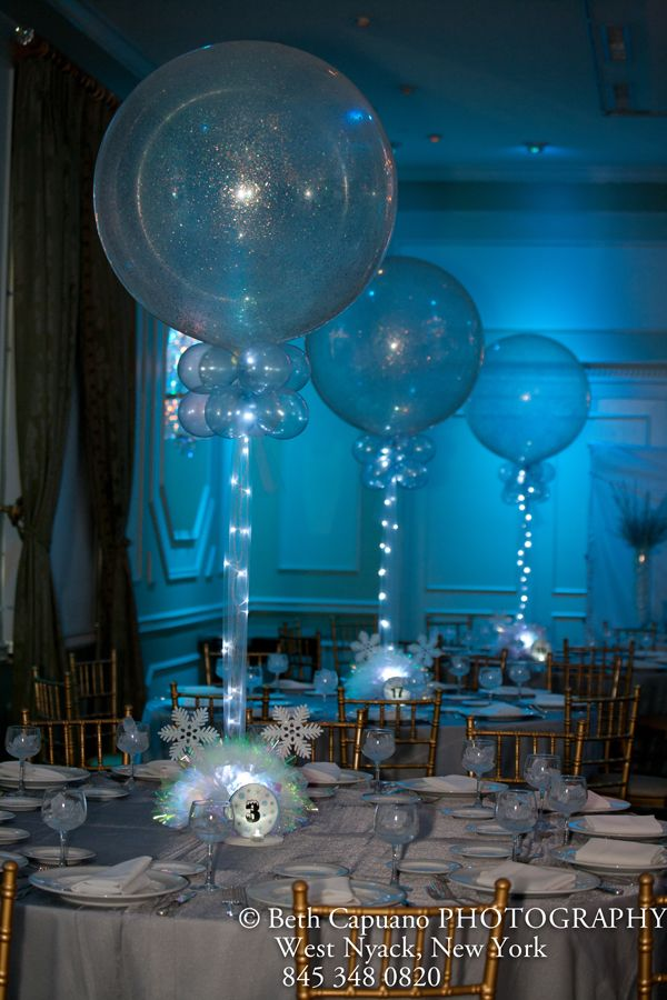 Sparkle balloons with tulle lights centros de mesa