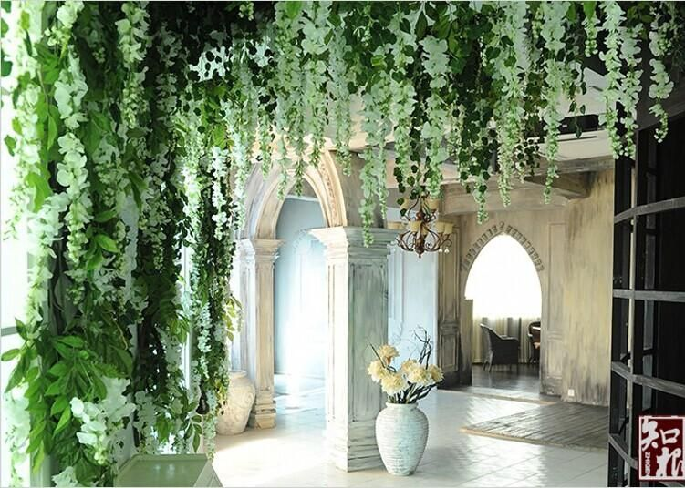 Upscale Artificial Silk Flower Vine Home Decor Simulation Wisteria Garland Craft Ornament For Wedding Party Decorations