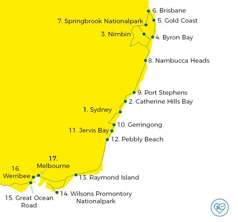 Australien Rundreise Siebenwochige Route Ostkuste Sudkuste