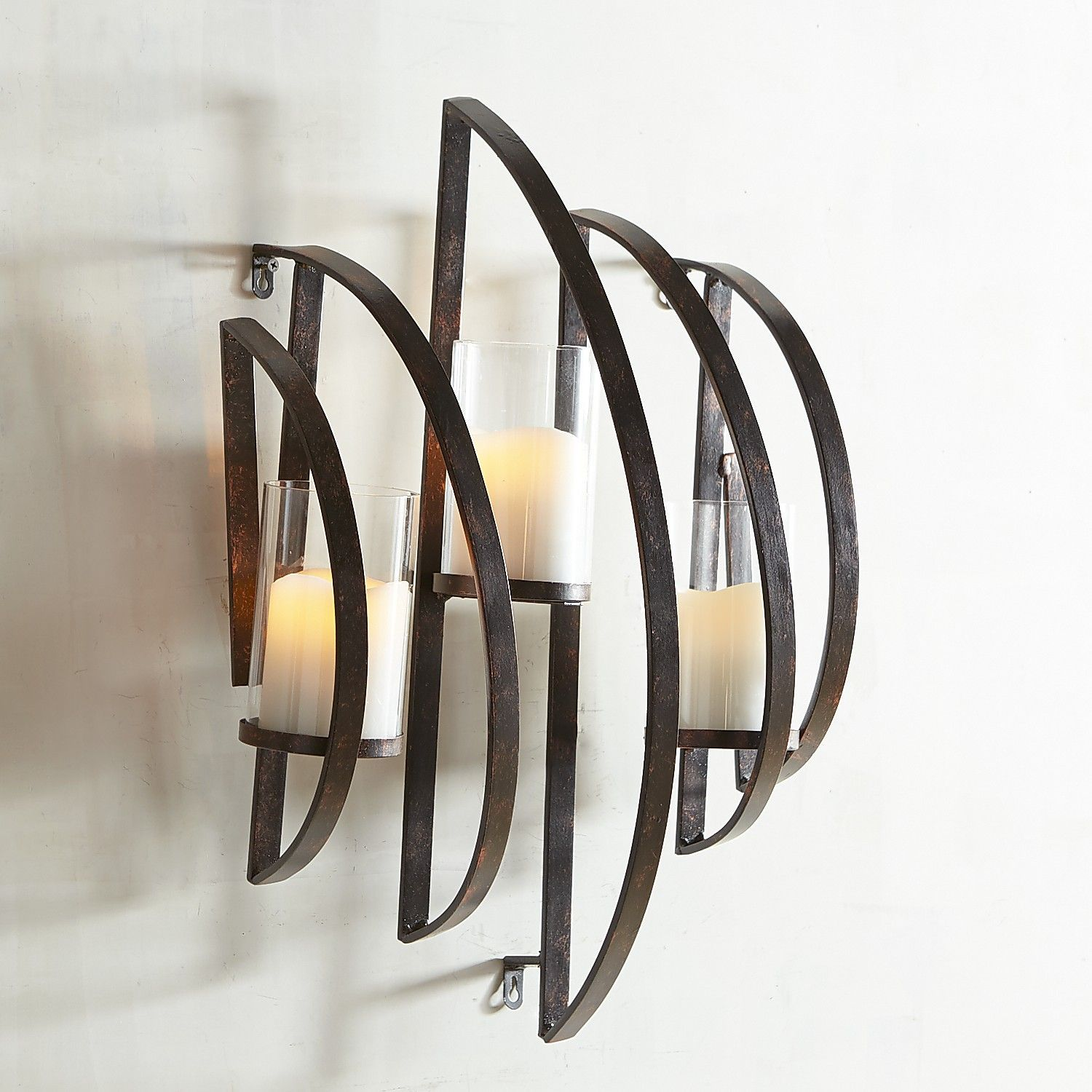 Zander black metal candle holder wall sconce black metal wall