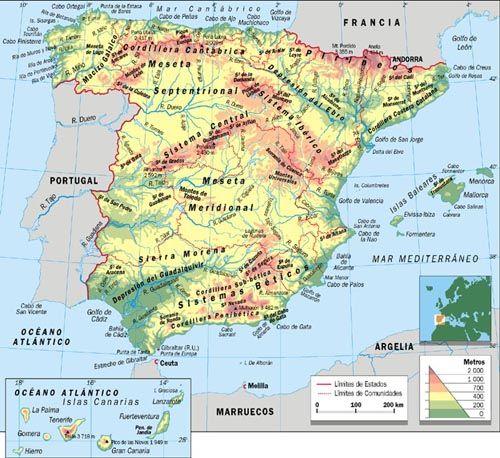 Mapa De España Físico.Mapa Geografia Escolar Mapa Fisico De Espana Mapa Fisico