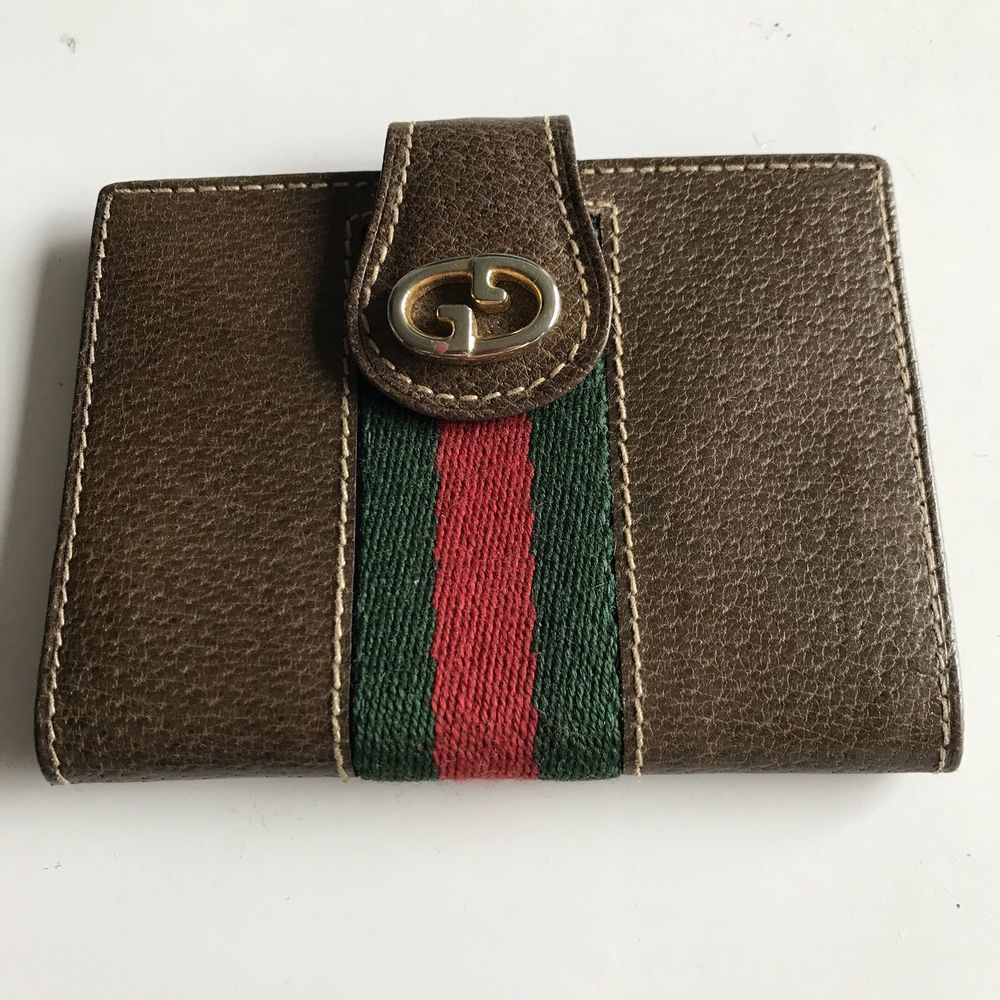 Gucci 100 authentic vintage leather card case ebay