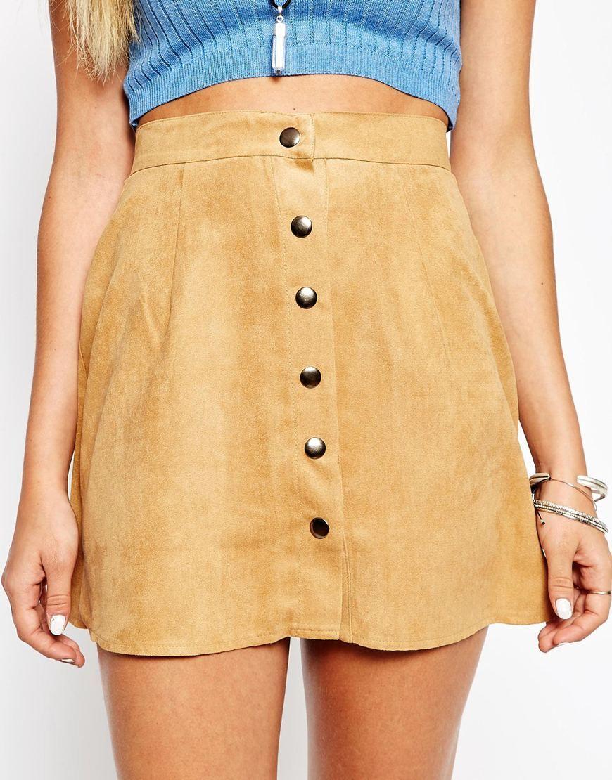 california-diamond: Motel Button Through Faux Suede A-Line Skirt ...
